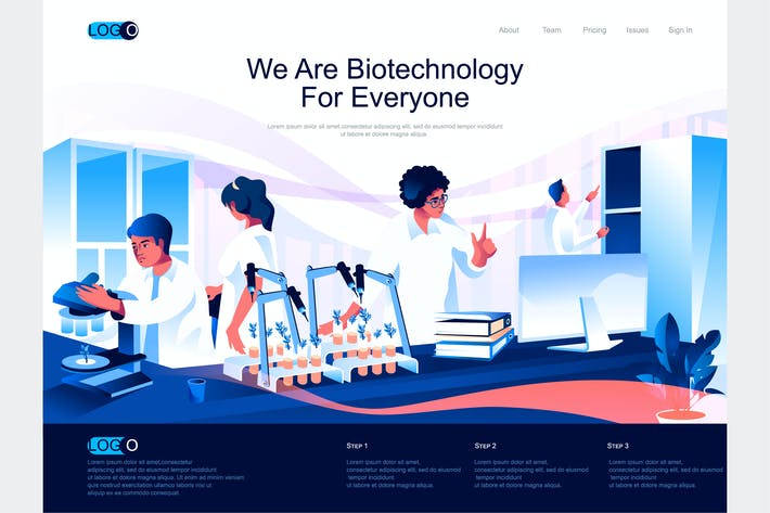 Thumbnail for Biotechnology Isometric Landing Page Template