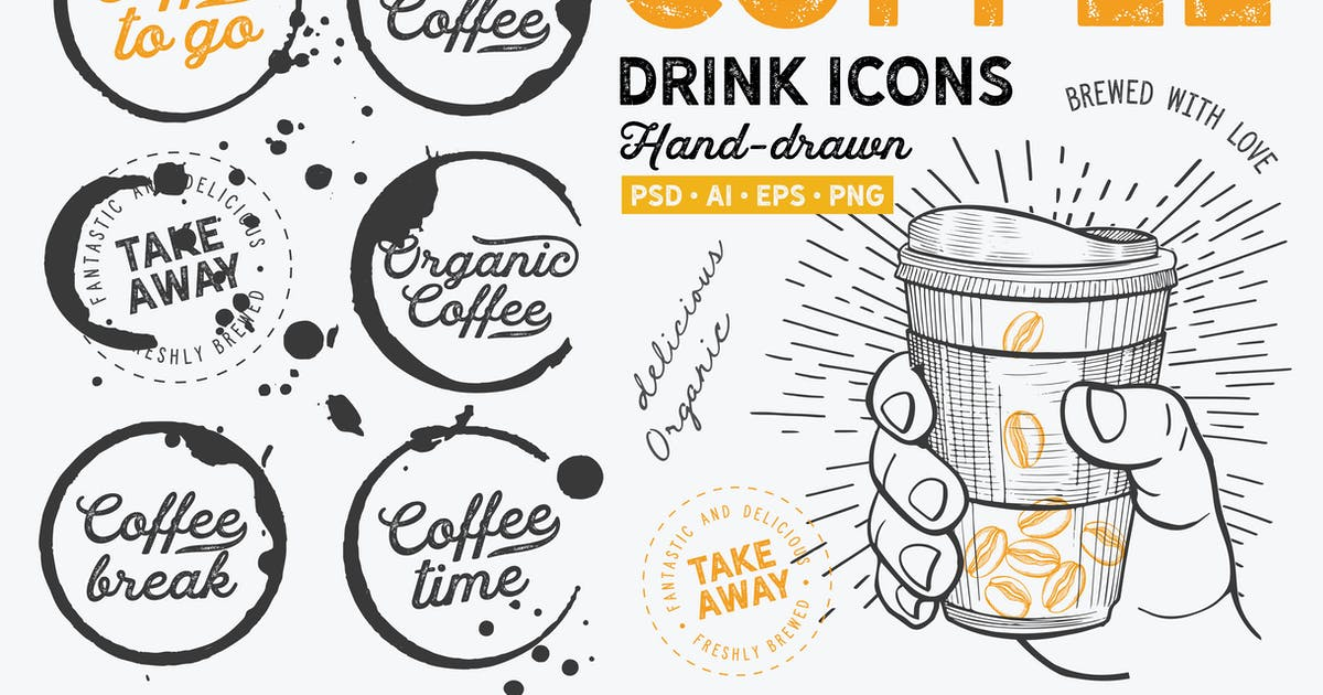 Download Coffee To Go Hand-Drawn Graphic by BarcelonaDesignShop