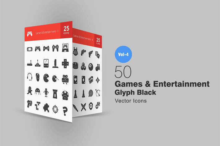 Thumbnail for 50 Games & Entertainment Glyph Icons