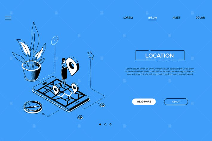 Thumbnail for Location - line design style isometric web banner