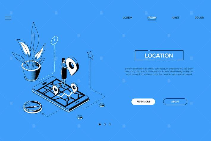 Thumbnail for Standort - Linie Design Stil isometrische WebBanner