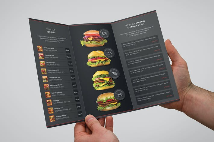 Cover Image For Burger House Brochure Tri-Fold