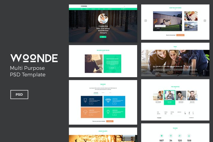 Thumbnail for Woonde – Landing Page PSD Template