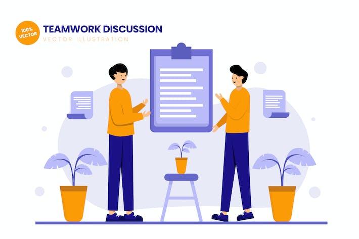 Thumbnail for Teamwork Brainstorming Flat Vector Illustration