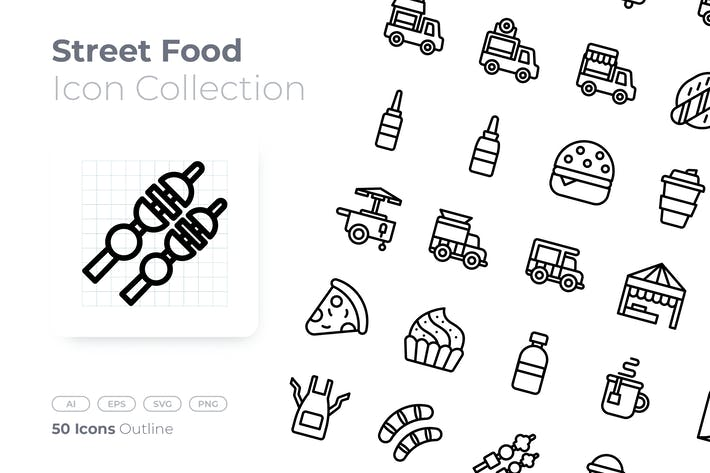 Thumbnail for Street Food Outline Icon