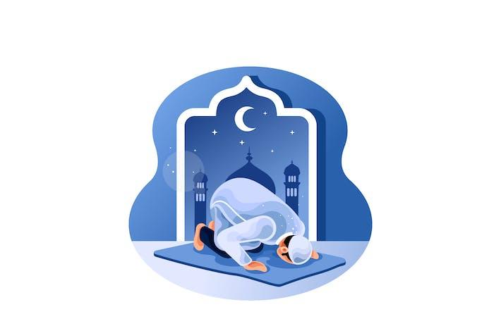 Thumbnail for Muslim betet nachts in der Moschee