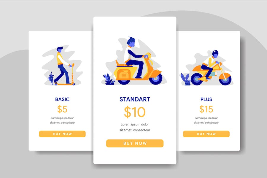 Pricing Table Comparison with Scooter, Motorcycles