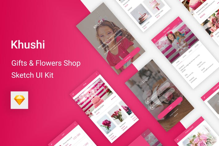 Cover Image For Khushi - Gifts & Flowers Shop UI Kit for Sketch