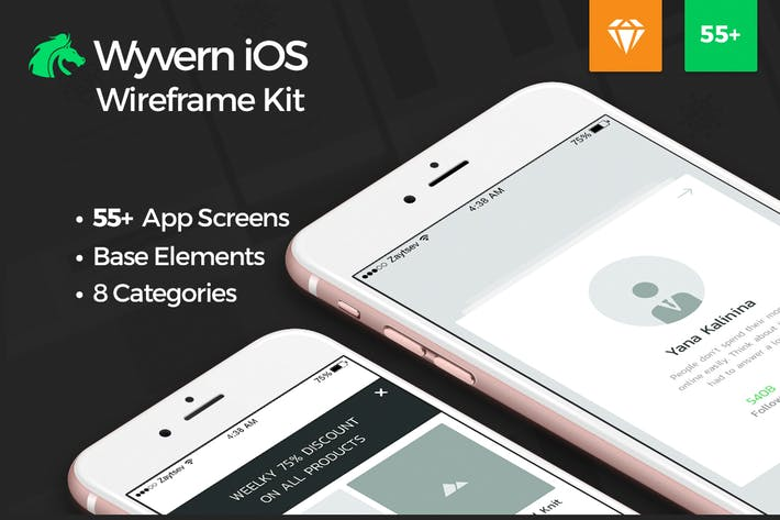 Thumbnail for Wyvern iOS Wireframe UI Kit