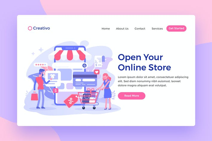 Thumbnail for Open Online Store Web Landing Page Illustration
