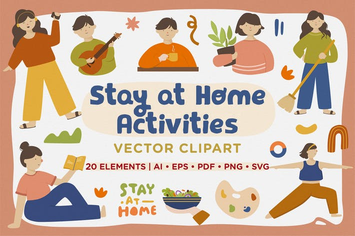 Thumbnail for Stay at Home Activities Vector Clipart Pack