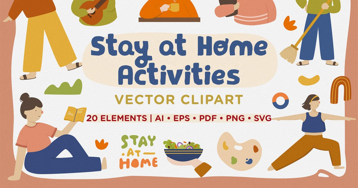 Download Stay at Home Activities Vector Clipart Pack by telllu