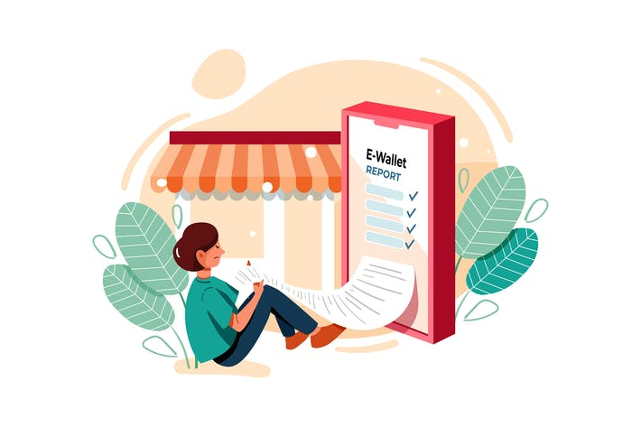 Online Transaction report Illustration