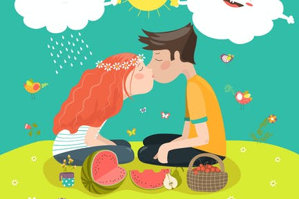 Young couple kissing at a meadow