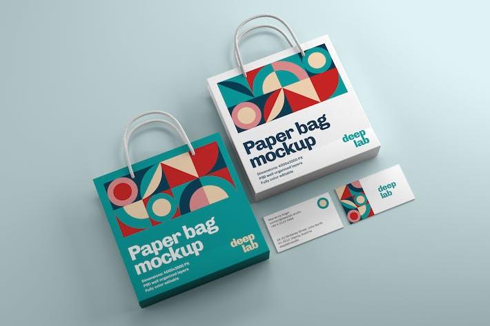 Paper Bag and Business Card Branding Mockup