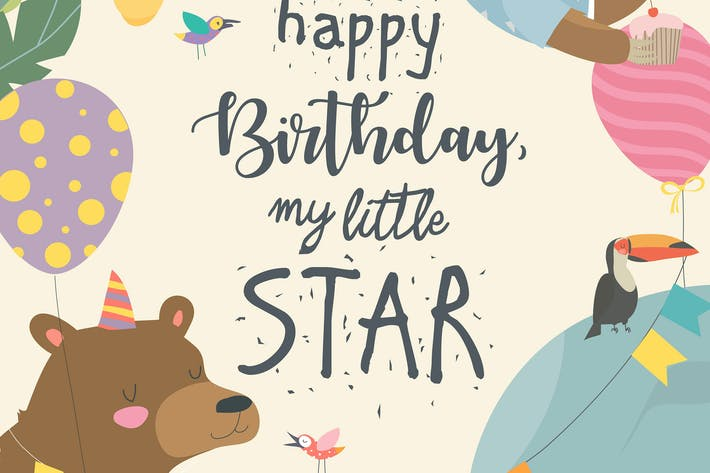 Thumbnail for Vector frame with cute animals celebrating Birthda