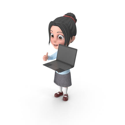 Cartoon Girl Emma Holding Laptop