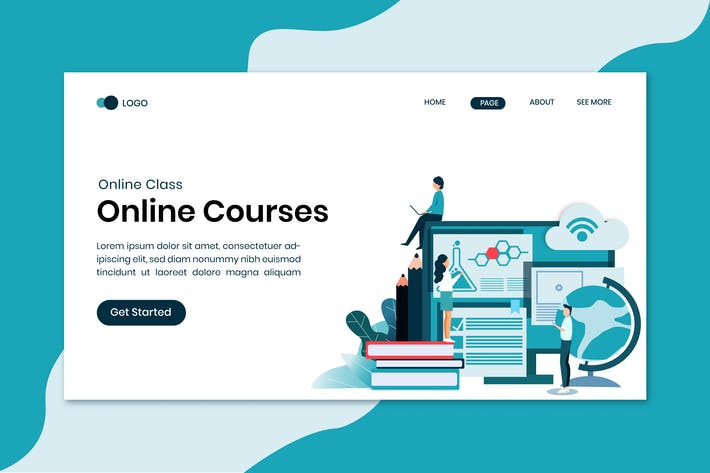 Thumbnail for Online Courses Education Landing Page