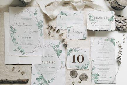 Watercolor Eucalyptus Wedding Suite