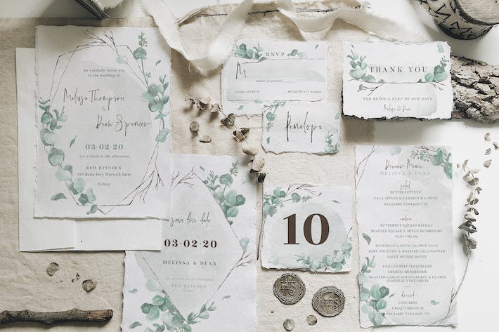 Cover Image For Watercolor Eucalyptus Wedding Suite