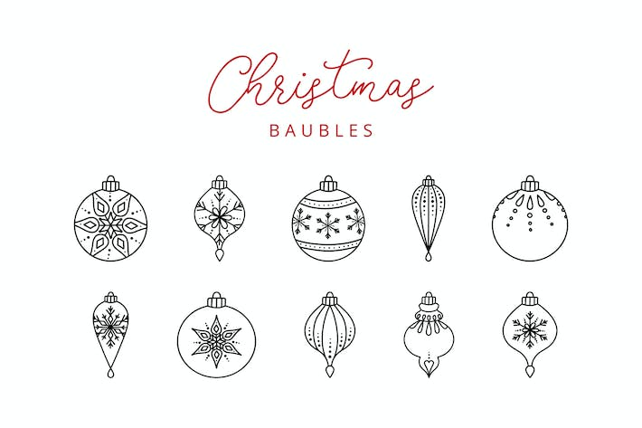 Thumbnail for 10 Weihnachtskugel Doodle Line Icons