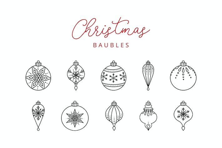 Thumbnail for 10 Christmas Ball Doodle Line Icons