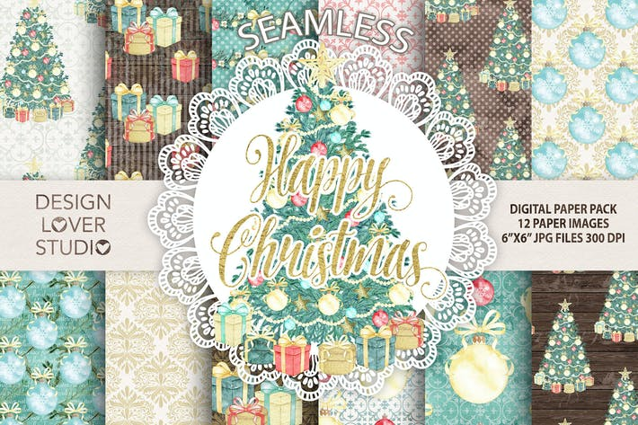 "Thumbnail for Watercolor ""Christmas tree"" digital papers"