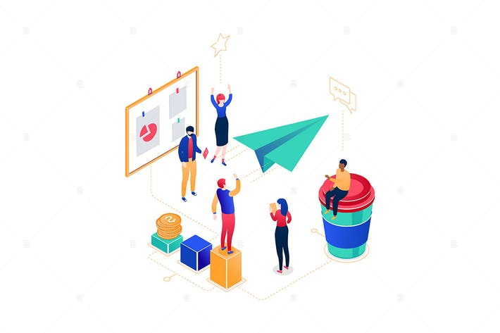 Thumbnail for Startup company -  isometric illustration