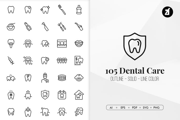 Thumbnail for 105 Dental care elements in minimal design