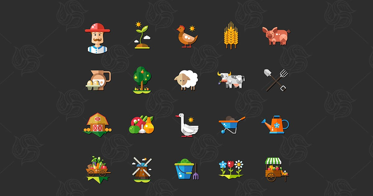 Farm - modern vector flat design icons by BoykoPictures