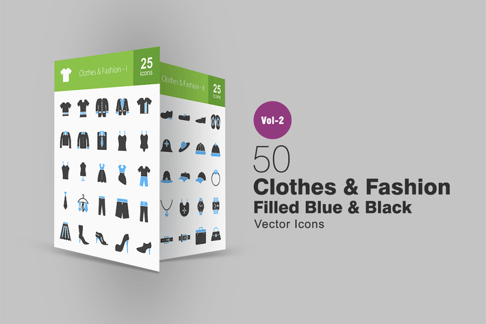 Thumbnail for 50 Clothes & Fashion Blue & Black Icons