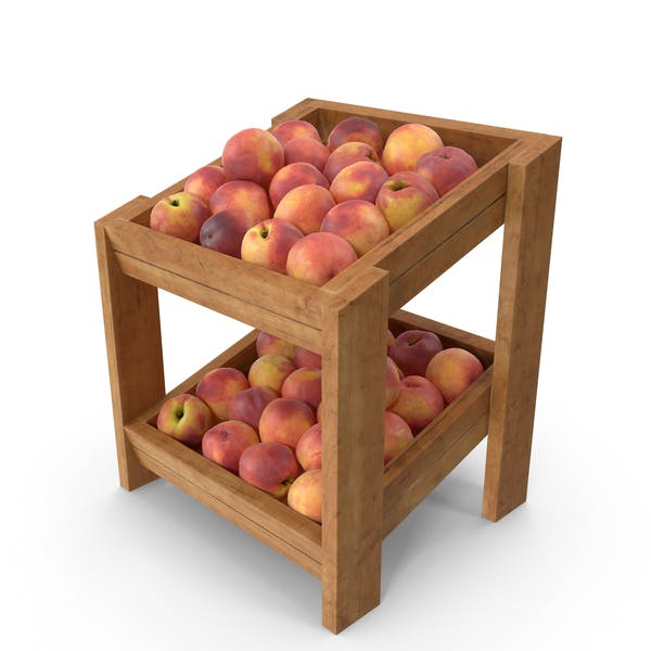 Wooden Merchandise Shelf With Peaches