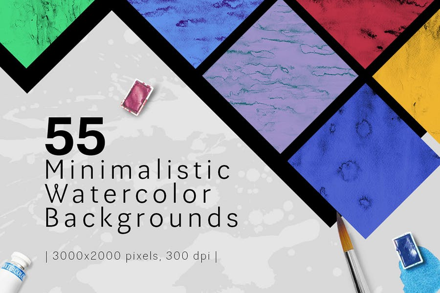 55 Minimalistic Watercolor Backgrounds