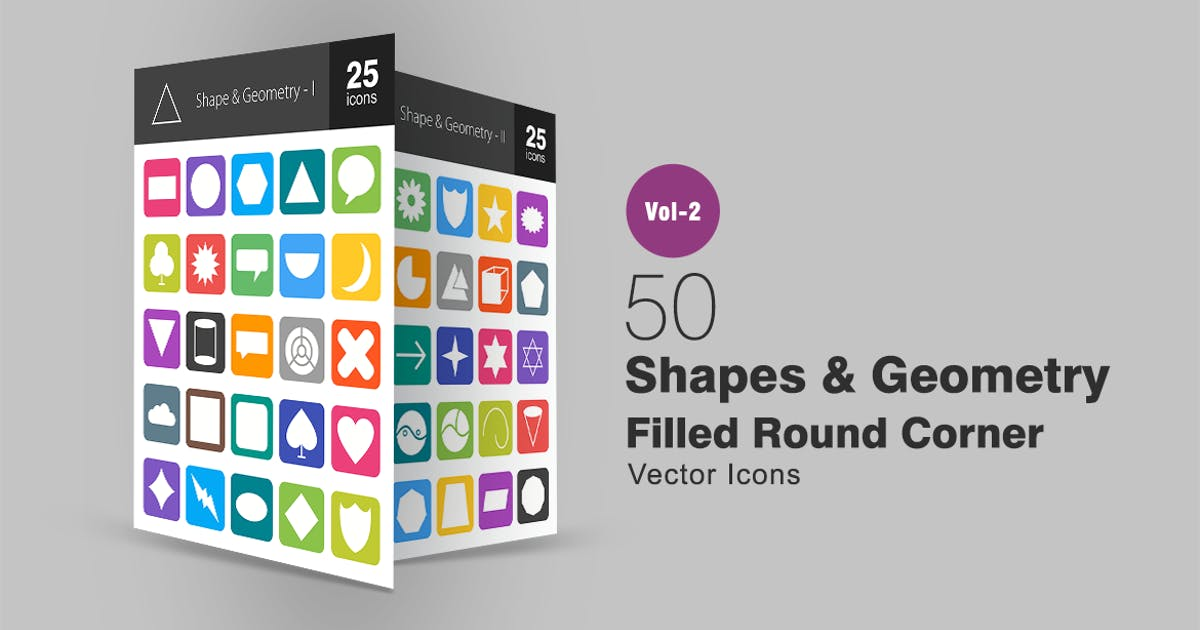 Download 50 Shapes & Geometry Filled Round Corner Icons by Unknow