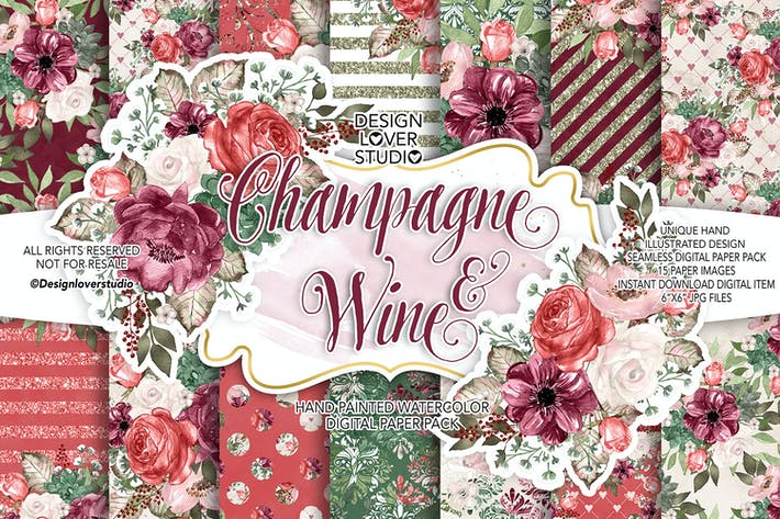 Thumbnail for Champagne and Wine digital paper pack