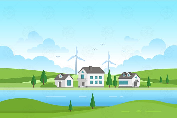 Thumbnail for Lanscape with windmills - vector illustration