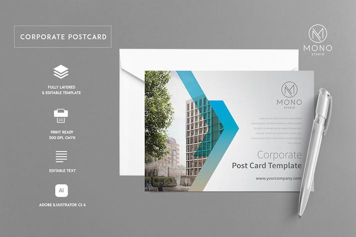 Thumbnail for Corporate Postcard Template 1