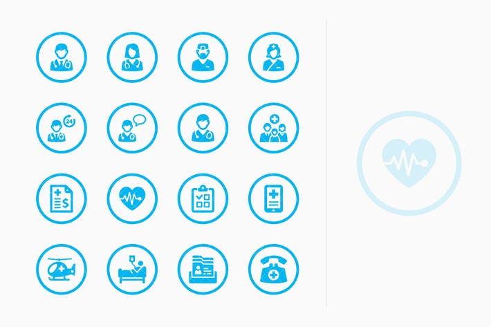 Thumbnail for Medical Services Icons Set 1 - Blue Circles