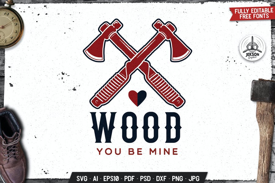 Wood You Be Mine Logo, Badge Vector Lumberjack
