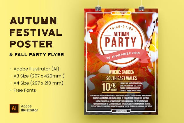 Autumn Festival Poster & Fall Party Event Flyer