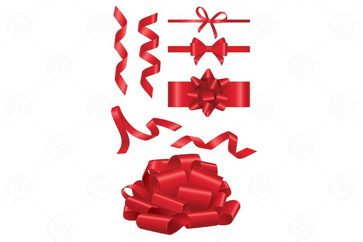 Thumbnail for Red Ribbon - realistic vector set of objects