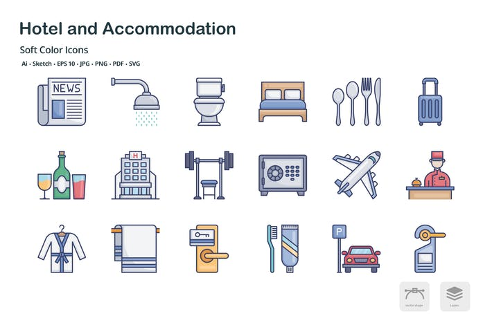 Thumbnail for Hotel and accommodation soft color icons