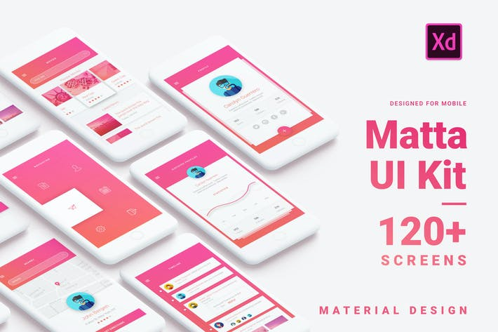 Thumbnail for Matta - Material Design Mobile UI Kit for Xd