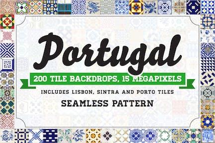 200 nahtlose Portugal Azulejo Fliesen Hintergründe