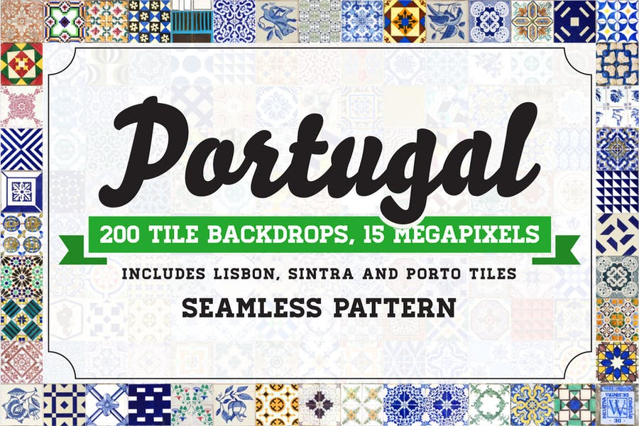 200 Seamless Portugal Azulejo Tile Backgrounds