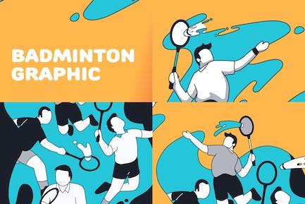 Badminton splash illustration