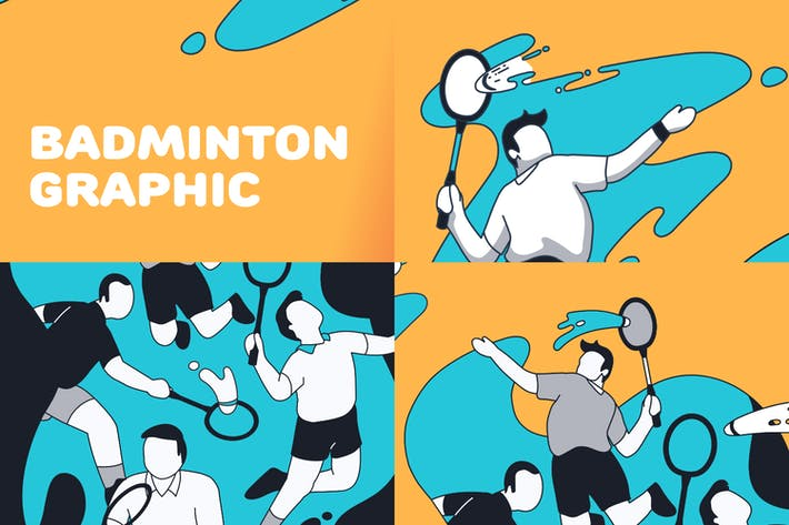 Badminton splash illustration