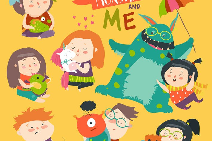 Thumbnail for Happy kids with their monsters pet. Vector set