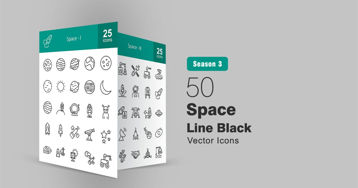 Download 50 Space Line Icons by IconBunny
