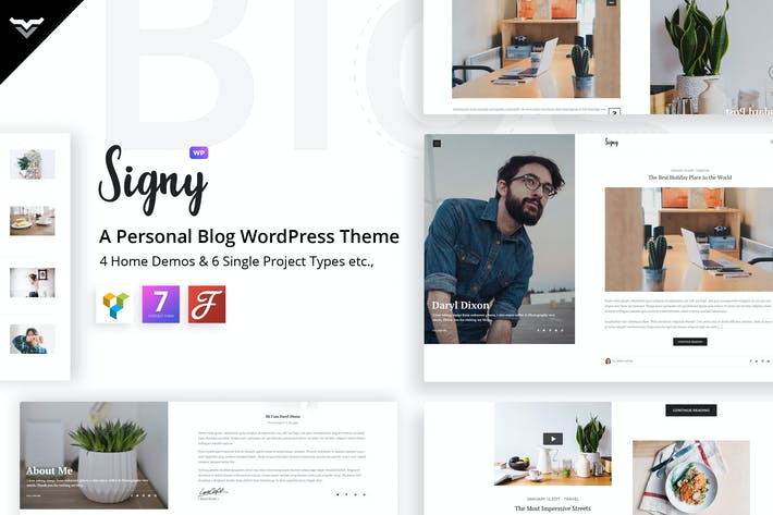 Thumbnail for Signy - Un blog personal WordPress Tema